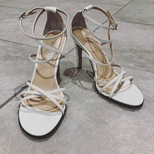 BEBE Patent white Strappy Sandal